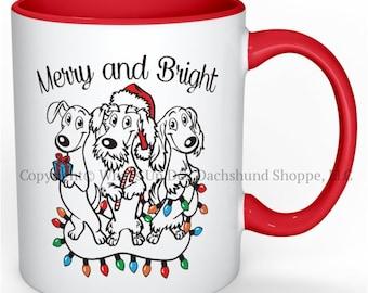 Clearance Sale Dachshund Christmas Mug Merry and Bright