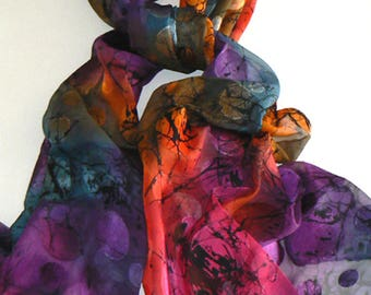 Burnt Out Handmade Silk Scarf Hand Painted Bright Colorful