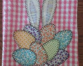 """Hand Appliqued Tea Towel, """"Bunny in the Easter Egg Pile""""  Price Reduced"""