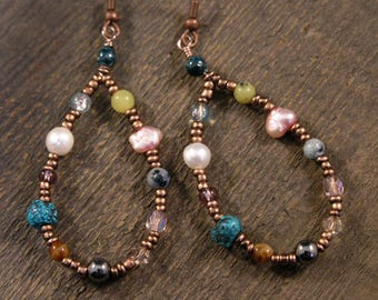 Jade, fossilized dinosaur bone, pearl, turquoise, hematite, swarovski crystal copper spring hippie earrings