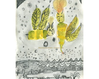 Original Painting/Drawing of Bees Waiting for Spring