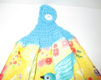 Kitchen towel, bluebirds, yellow, refrigerator towel, dry hands, drying towel, crochet top, over the oven handle, colorful