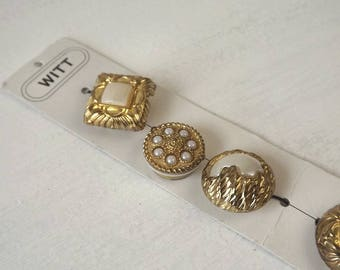 Witt Button Covers Goldtone Metal and Faux Pearl, Set of 5 on Card
