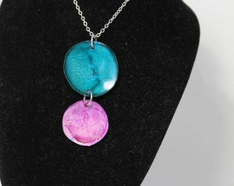 Turquoise and Pink Disk Pendant Necklace AIN4