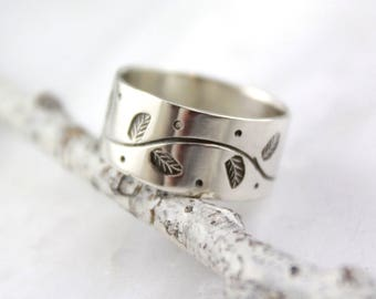 Stamped Leaf and Vine Wide Silver Band Ring