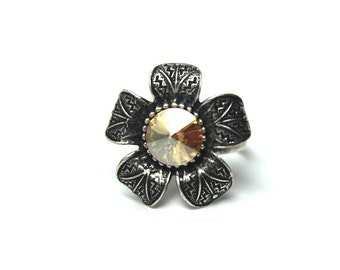 Golden Flower Ring Classic Metallic Gold Shadow Antiqued Silver Floral Aztec Pattern Adjustable Cocktail Statement Shimmer Sunflower Daisy
