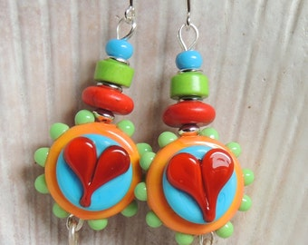 FUNKY HEARTS 2 Handmade Lampwork Dangle Earrings