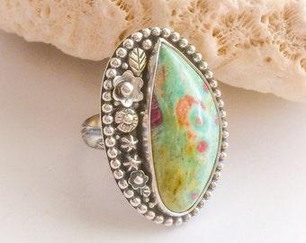Light Green Stone Ring, Pink Ruby in Fuchsite Stone Flower Ring, Artisan Silversmith Statement Ring Size 8 3/4 Large Bohemian Ring Boho Chic