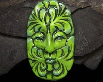 A Green Greenman Face Cab leaf spirit Cabochon polymer clay beading focal