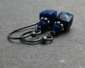Lapis Earrings Petite Geometric Jewelry Oxidized Sterling Silver Earrings Navy Blue Lapis Lazuli