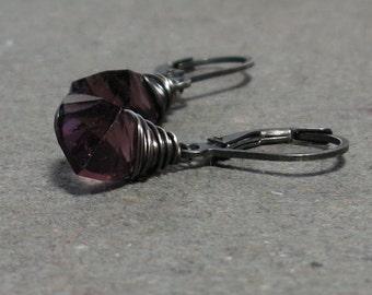 Fluorite Earrings Purple Concave Cut Gemstones Oxidized Sterling Silver Leverback Earrings Gift for Wife