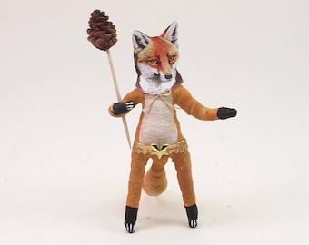 Spun Cotton Vintage Inspired Fox Man Figure/Ornament