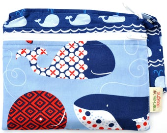 Small Double Pocket Wet Bag / Snap Strap / True Blue Whales Fabric  / Diapers / Gym / Swim / SEALED SEAMS
