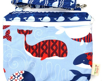 Double Pocket Wet Bag / Medium 12 x 9 x 2 Adjustable Removable Strap / True Blue Whales / Perfect for Diapers / Gym / Swim / SEALED SEAMS