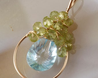 Blue Topaz Peridot  Wire Wrapped Pendant