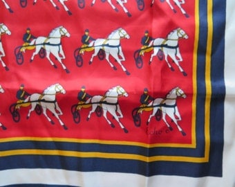 Vintage ECHO Horse and Rider Buggy Racing Silk Square Scarf Italy