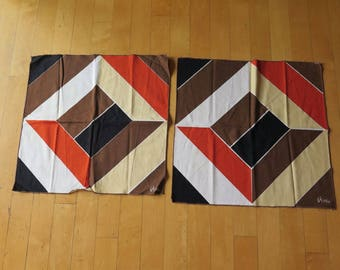 Vintage Vera Neumann Diamond Brick Color Block Napkin Linens