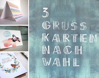 3 Greetings Cards of your Choice // Pick and mix your favourite designs // Including envelope // Recyclingpaper