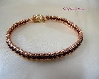 Rose gold and copper rust beads, tennis bracelet, handbeaded