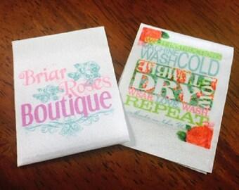 50 Satin Ribbon Clothing Labels - Sewing Tags - Digitally Printed - UNLIMITED COLORS - A USA Company
