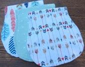 Baby Burp Cloth Set of Three Arrows Triangles Feathers Woodland Baby Bandana Bibs