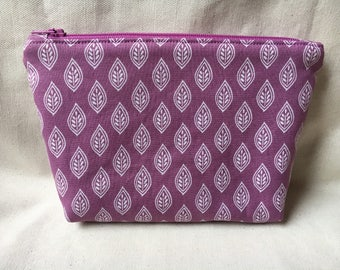 Lavender and Leaves Zippered Pouch / Cosmetic Bag