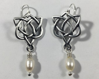 Sterling Silver & Pearl Celtic Love Knot Earrings Outlander Mother's Knots Christmas Gift Mom Heart Valentine Infinity Eternity Irish Jamie