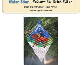Winter rider holiday ornament, horse and rider beaded ornament pattern, brick stitch horse beadwork design. Instant download!