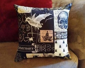 Victorian Gothic - 12x12 Pillow - with form - Nevermore - Skull - Black - Dark - Accent Pillow - Handmade - Yellow - Bat - Damask - White