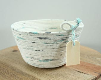 Basket rope coil natural thread painted mint grey bin storage organizer bowl wooden tag by PETUNIAS