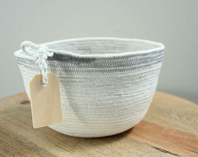 Basket rope coil grey stripe thread natural bin storage organizer bowl wooden tag by PETUNIAS