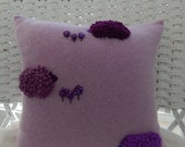 Recycled Purple Cashmere Cardigan Sheep Pillow