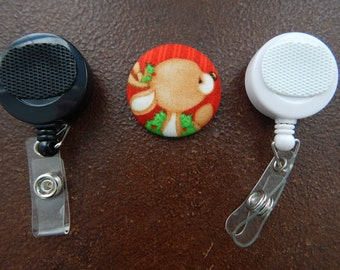 Fabric Covered Button for Clip on Retractable Badge Reel - Reindeer