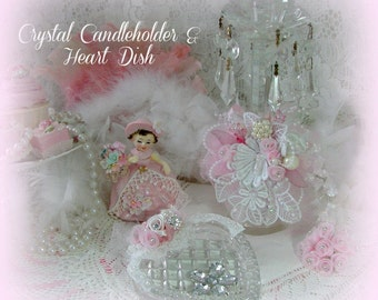 Vintage German Crystal Chandelier Candle Holder, Cut Crystal Pink Roses Heart Pin Dish, White Bridal Lace Pearl Appliques