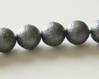 Huge Sale - 35% Off Gutermann 10mm Round Ice Coated Czech Glass Beads - Dark Silver - 10  pcs - 9555