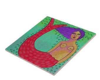 Mermaid with Purple Hair Abstract Digital Painting Printed on Ceramic Tile