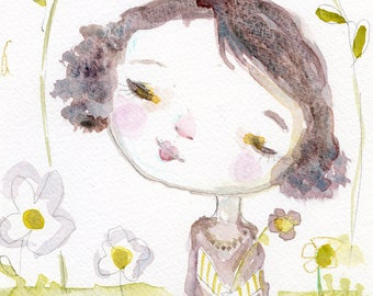 Miss Daisy - 6x9 original watercolor