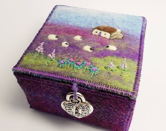 Purple and Green Harris Tweed and Felt Trinket Box