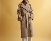 camel hair wool wrap coat / belted midi winter coat / s / m / 2172o / R3