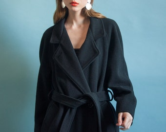 black wool belted winter coat / overized overcoat / classic robe pea coat / m / 2067o / R3