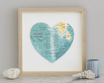 Maldives Map Heart Print - Framed print- maldives map - wedding gift - anniversary gift - engagement gift - honeymoon destination print
