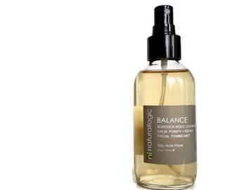 BALANCE Facial Toning Mist. Face Toner. Oily Skin. Acne Prone. Acne Treatment. Natural Organic Chemical Free Non Toxic Skin Care. Vegan.