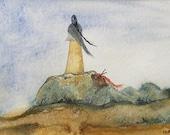 Knitting Rock...Original Watercolor. Figurative Landscape.