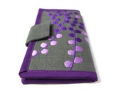 MADE TO ORDER / Womens wallet / Purple Pods Wallet / Handmade fabric Wallet /  embroidered wallets for women / Women's Gift