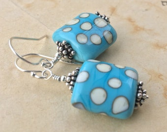 Turquoise blue and ivory lampwork earrings in sterling silver