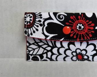 Mini Wallet - Gift Card Holder - Debit Credit Card Case -  Business Card Case  - Snap Closure - Black White Red Zesty Zinnia Fabric