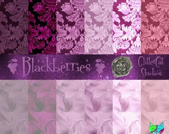 """Digital download Blackberries 8.5"""" x 11"""" printable scrapbook papers; fall harvest papers; soft colours; hand-made original digital papers"""
