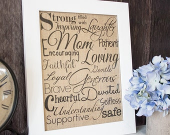 Mother's Day burlap wall art - Inspirational burlap wall art for New Mothers or a Mothers Day gift for your Wife or Mom