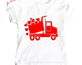 Valentines Shirt Truck Hearts valentines day toddler baby cute Red