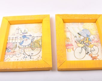 Holly Hobbie, Framed Pictures, Illustrations, Wall Art, Girls on Bikes, Hats, Framed, Yellow, Bonnets, Vintage ~ The Pink Room ~ 160908